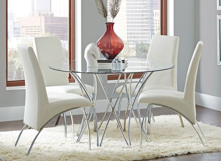 Azura Table With White Chairs Round Dining SetsDining Room