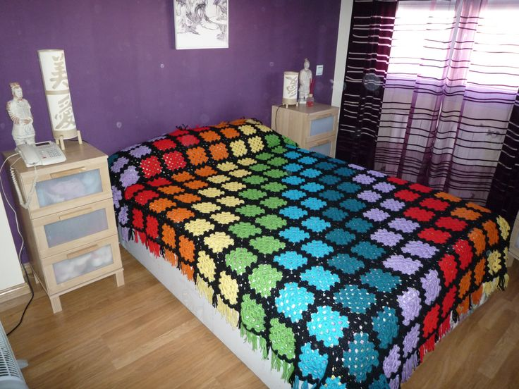 Manta Granny square crochet Kike