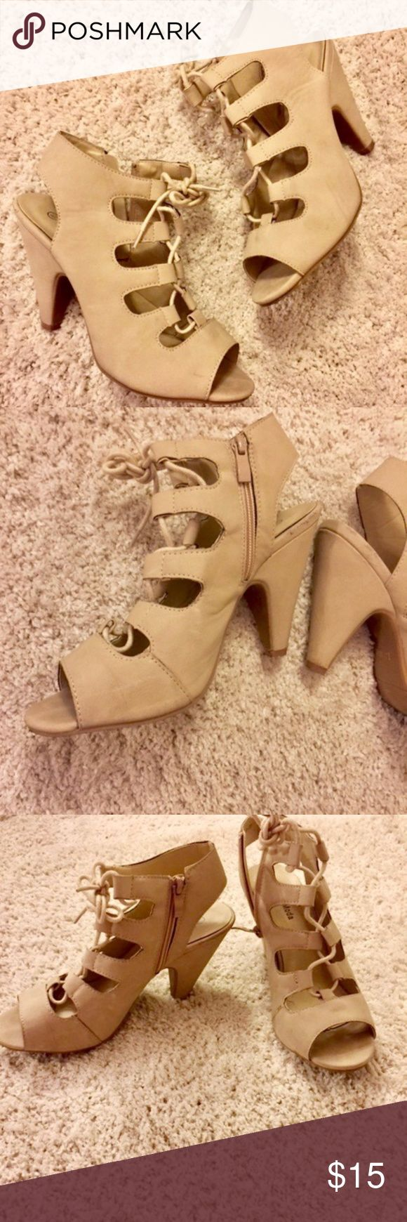 Lace-Up Strappy Nude Heels Sz 8.5 Faux suede beige/nude strappy heels with side zip closure in great condition! Bought these and wore them once for my college graduation! Top Moda Shoes Heels
