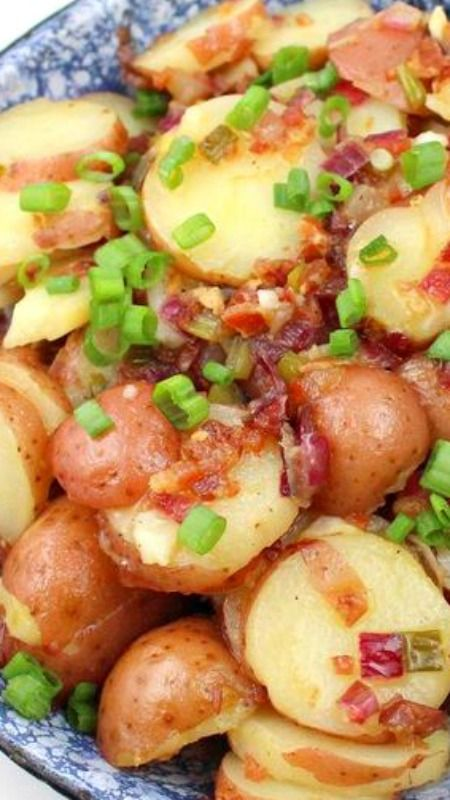 German Potato Salad ~ Hot potato salad dripping with bacon.
