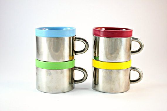 Insulated Coffee Mugs, Ceramic and Stainless Steel Mug Set, Set of 4 Insulated Coffee Cups, Steel & Ceramic Mugs, Double Wall Insulated Mugs on Etsy, $49.99
