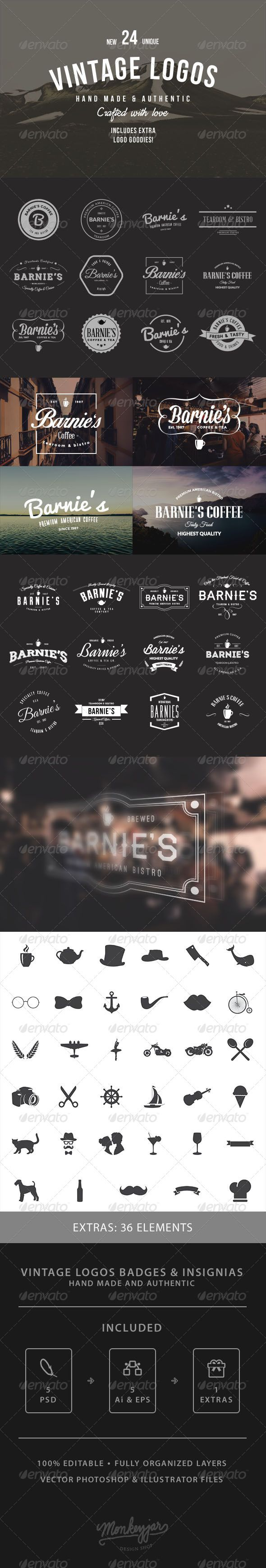 24 Old-School Logos & Badges - Badges & Stickers Web Elements