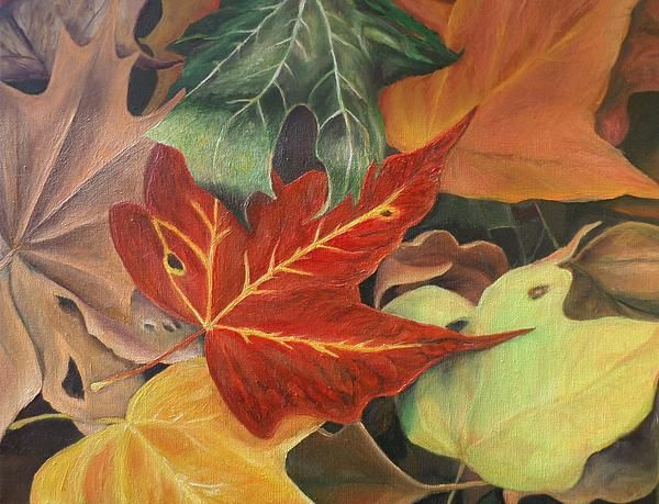 leaves, acrylic paintings, realism, photorealism paintings, autumn, layers