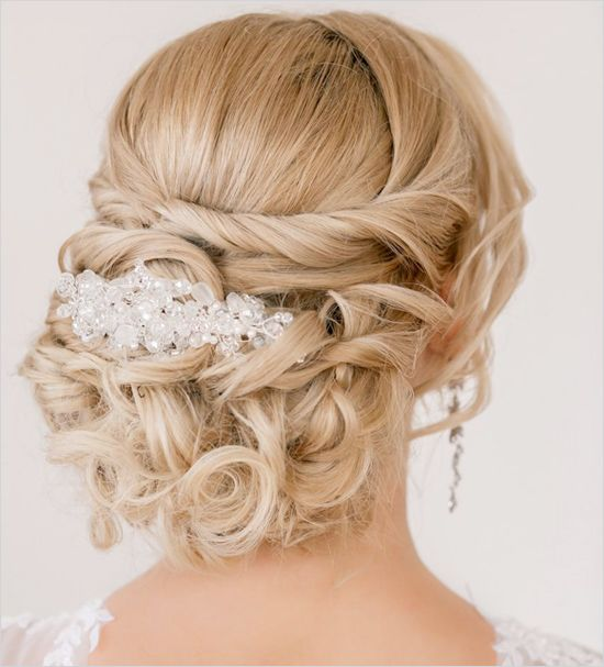 Glamorous twisted wedding hair. Hair Stylist: Estile http://www.weddingchicks.com/2014/06/10/glamorous-engagement-rings/