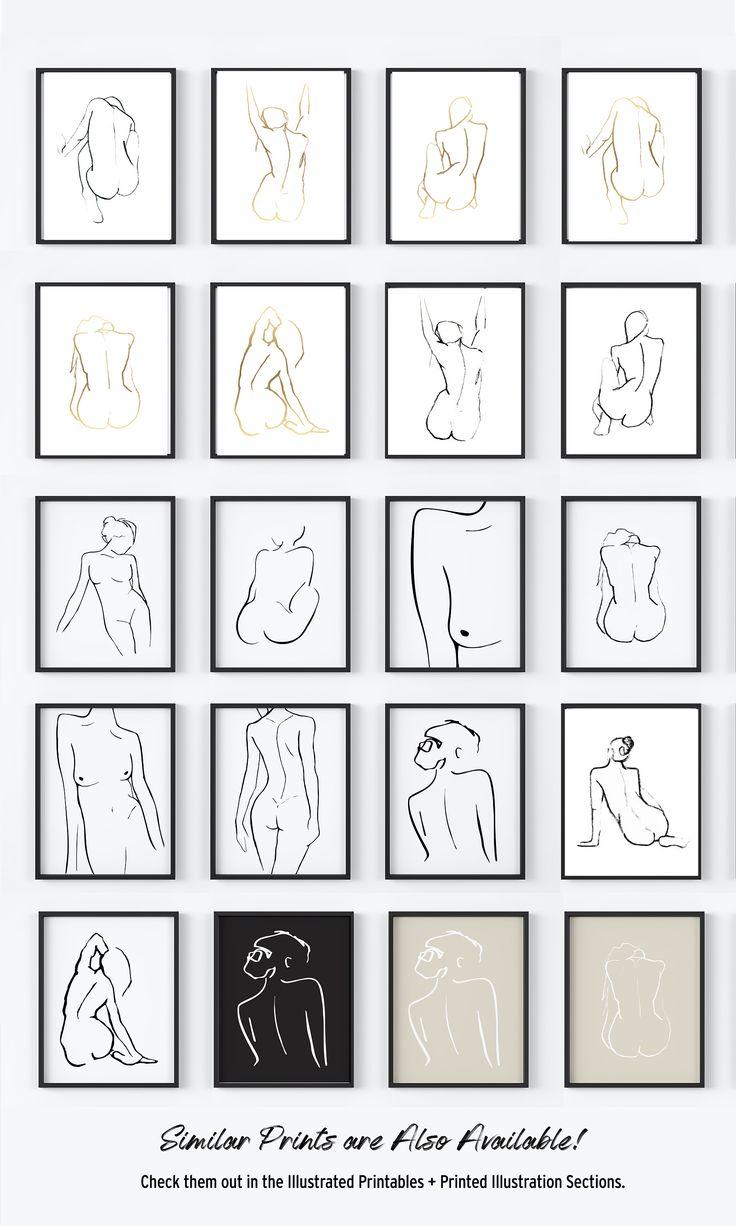 Minimal Figure Drawing. Original Line Drawing. Nude Woman. Abstract Line Contour. Nude Art Print. Black and White Art. Nude Prints. Line Art