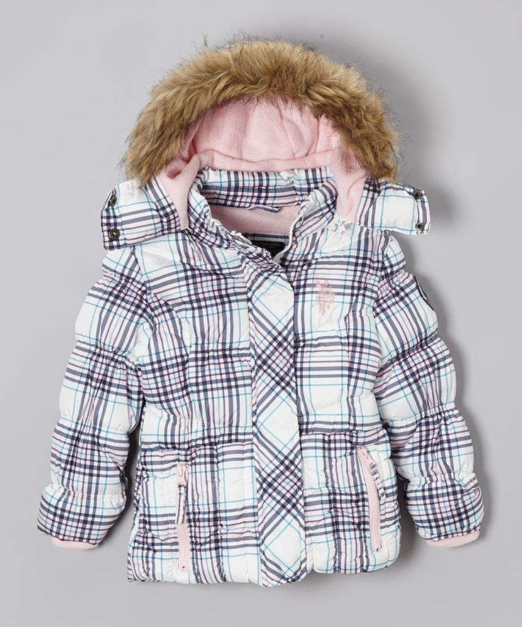 NWT Girls Weatherproof White Plaid Puffer Coat with Detachable Hood -Size 14/16  #Weatherproof #PufferJacket #Everyday