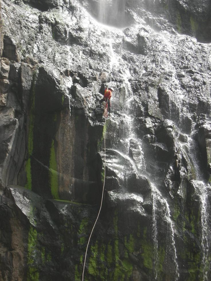 Down a waterfall in Khandala Canyon