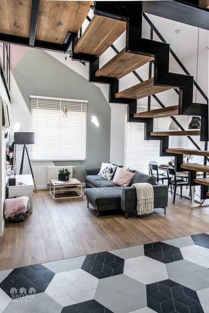 loft scandinave et industriel salon