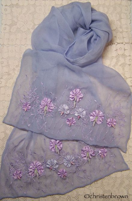 chiffon scarf with flowers