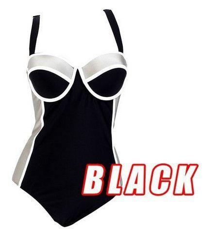 Women's Colorblock Figure-Flattering One-Piece Bathing Suit 3XL-5XL 4 Colors