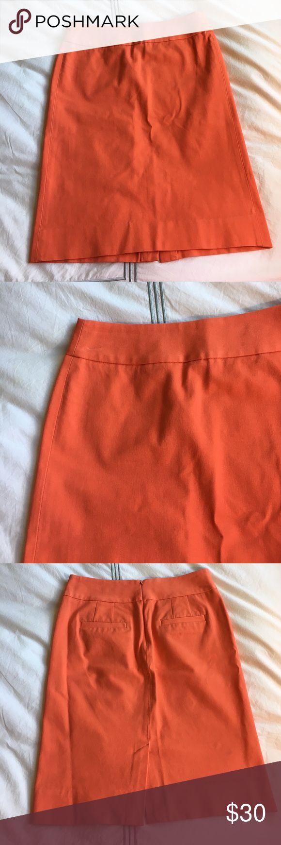 Banana Republic coral pencil skirt A great spring color and super stretchy! EUC. 56% viscose, 39% cotton, 5% spandex. 21 inches long. Banana Republic Skirts Pencil