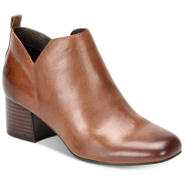 Born Aneto Booties ($130) ❤ liked on Polyvore featuring shoes, boots, ankle booties, brown, block heel boots, born boots, zip boots, brown boots and zip booties