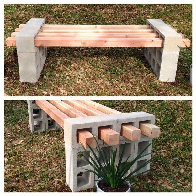 Cinder Block Ideas: DIY Cinder Block Bench | Homemade Patio Furniture Ideas by DIY Ready at http://diyready.com/diy-projects-backyard-furniture/