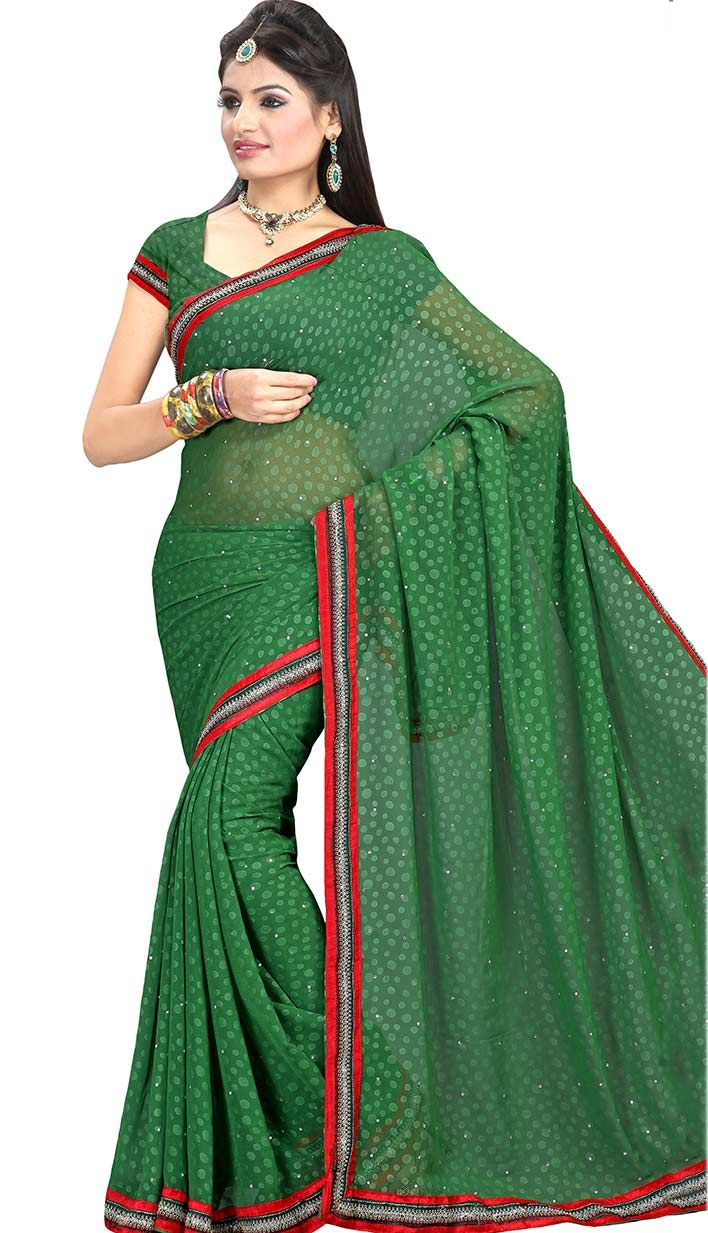 Latest Green Faux Chiffon #CasualSaree - INR1039 Order your online.. http://bit.ly/1tGo76R