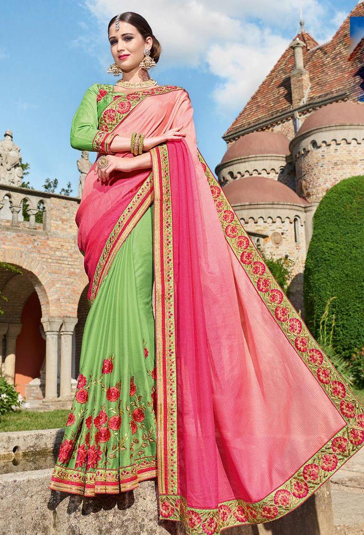 Pink,Light Green Georgette Designer Saree #sale #offers #sareesonsale #sareessale #designersaree #designersari #onlinesaree #onlinesari #dress #onlineindiandress #sale#nikvik #freeshipping #usa #australia #canada #newzeland #Uk #UAE