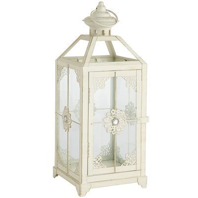 Medium Jeweled Lantern - White for tablescapes