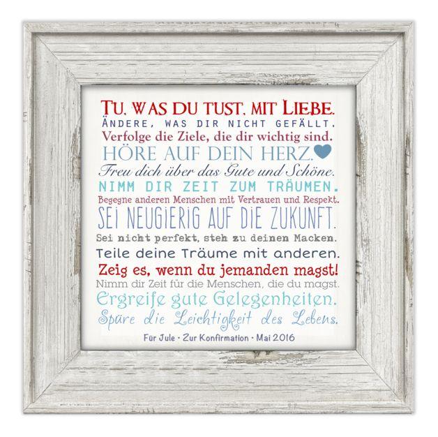 """**""""Manifest"""" • Leinwandbild mit Widmung • 25x25 cm** Ein hübsches Geschenk, z.B. zur Kommunion/Konfirmation/Firmung. Die untere Zeile +""""Name - Anlass - Datum""""+ wird dem Namen/Anlass/Datum..."""