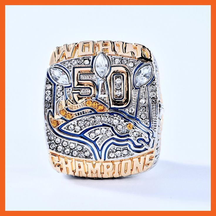 OFFICIAL VERSION 2015 DENVER BRONCOS SUPER BOWL 50 WORLD MILLER SCORES ENGRAVED CHAMPIONSHIP RING