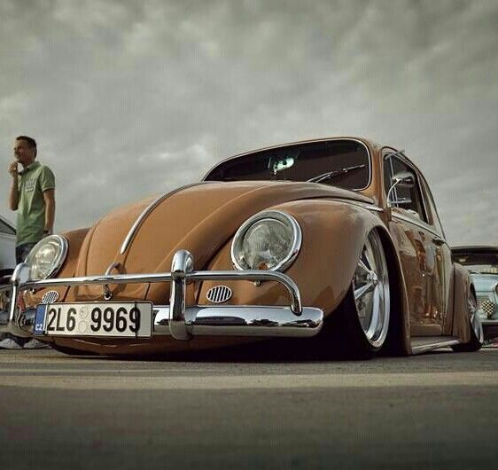slammed brown vw beetle buses volks
