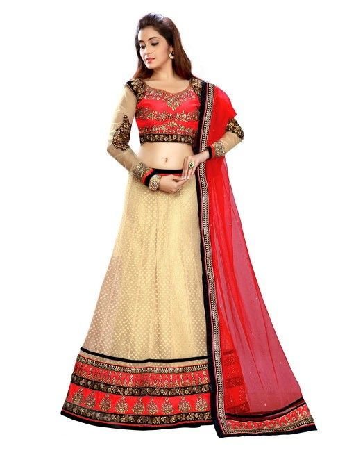Cream Net Lehenga Choli with Embroidery Work