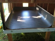Pond Liner in floor of coop, allows - hosing out to clean. - draft proofs floor in winter