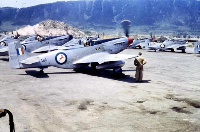 ☆ South African Air Force ✈ North American F-51D Mustang fighters of No. 2 Squadron of the South African Air Force in Korea. Here they are seen conducting run-ups during the Korean War in 1951. This F-51 Mustang No. 346 crashed on 29/11/1951 tragically killing the pilot Capt Janse van Rensburg.