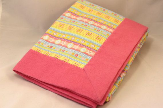 Double Layer Receiving Blanket  Pink Print Snuggle by KRaeDesign