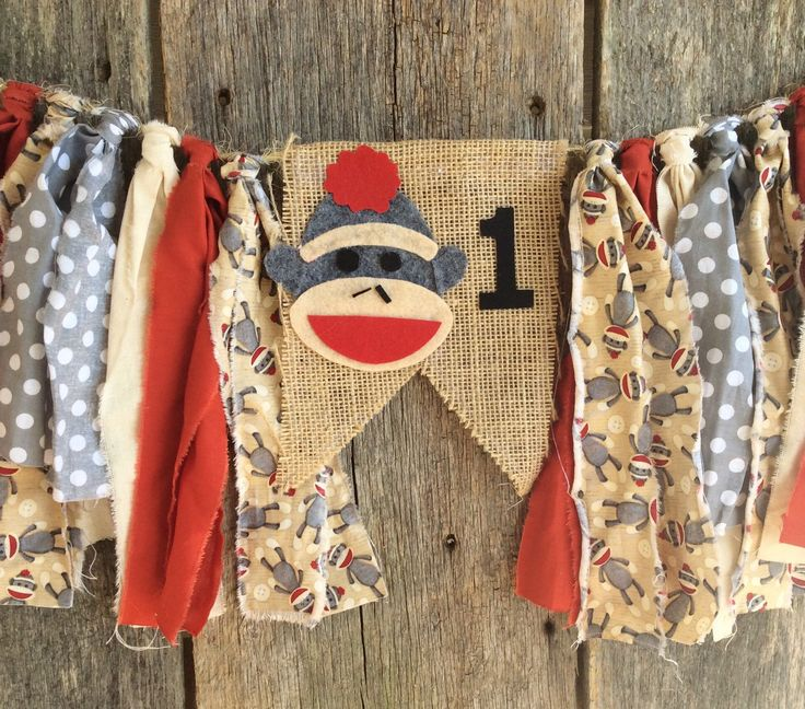Sock monkey Burlap and Fabric Banner; highchair; first birthday; Monkey by RockyTopCharm on Etsy