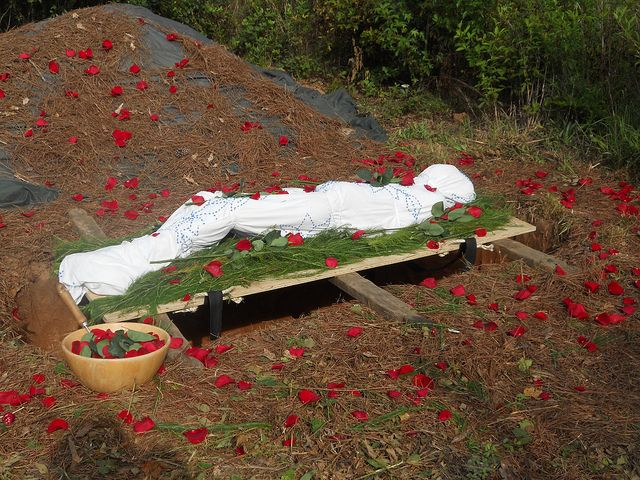 """""""Shroud burial at Greenhaven Preserve, South Carolina. A green burial – or natural burial – is defined as a burial alternative that allows the body to be returned to the earth and naturally recycled into new life without the use of toxic embalming fluids, metal caskets and concrete vaults."""" - Flickr"""