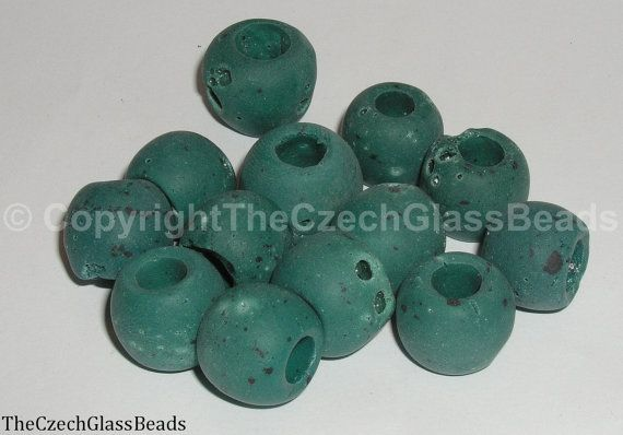 50g Czech Vintage Sintered Saucer Beads 18mm by TheCzechGlassBeads