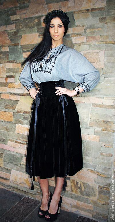 Купить Роскошная черная юбка «Бархатная ночь» - черный, юбка, юбка черная, бархатная юбка