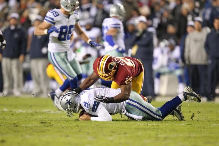 Week 17 - Redskins LB London Fletcher sacks Cowboys QB Tony Romo in the first half.