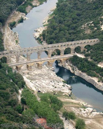 Pont du Gard, Cap d'Agde, France walked across the top of the bridge-no guard rails.