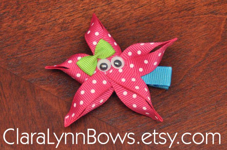 Starfish Ribbon Sculpture Hair Bow - New to Clara Lynn Bows. $3.00, via Etsy.