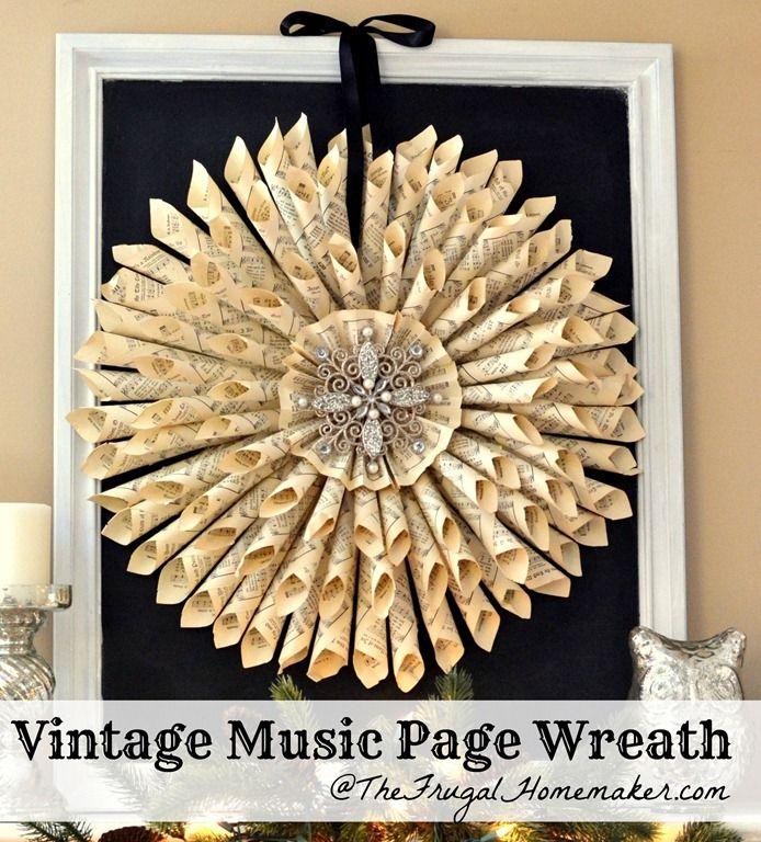 Vintage Music Page Wreath