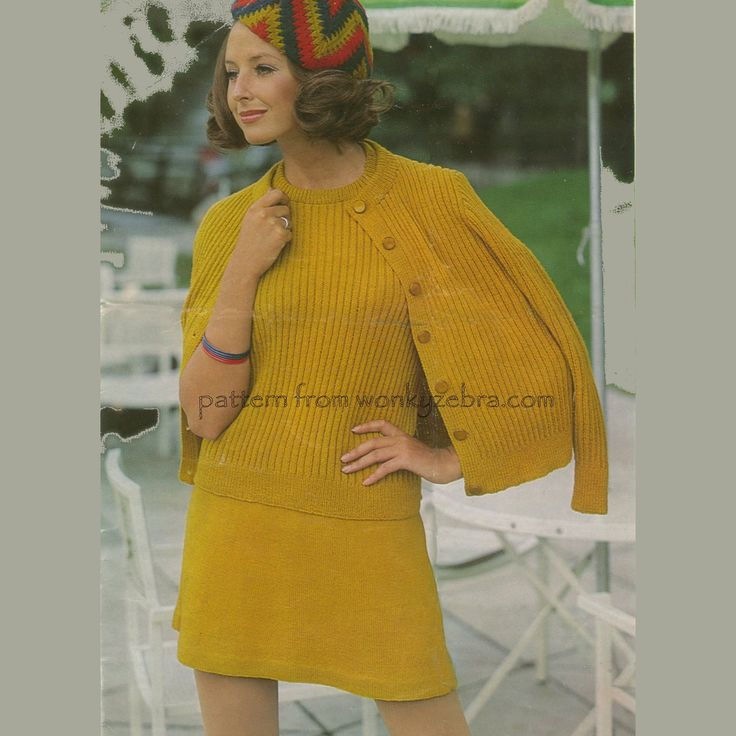 A very retro kniting pattern Emu2776. This little mod twinset suit pattern is so wearable! From WonkyZebra,com. pattern PDF WZ111