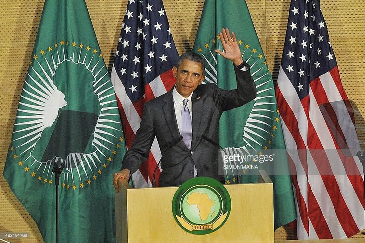US President Barack Obama addresses African Union (AU) in Addis Ababa on July 28, 2015. Obama arrived at the African Union headquarters today, to become the first US president to address the 54-member continental bloc, at the end of a tour focused on corruption, rights and security.