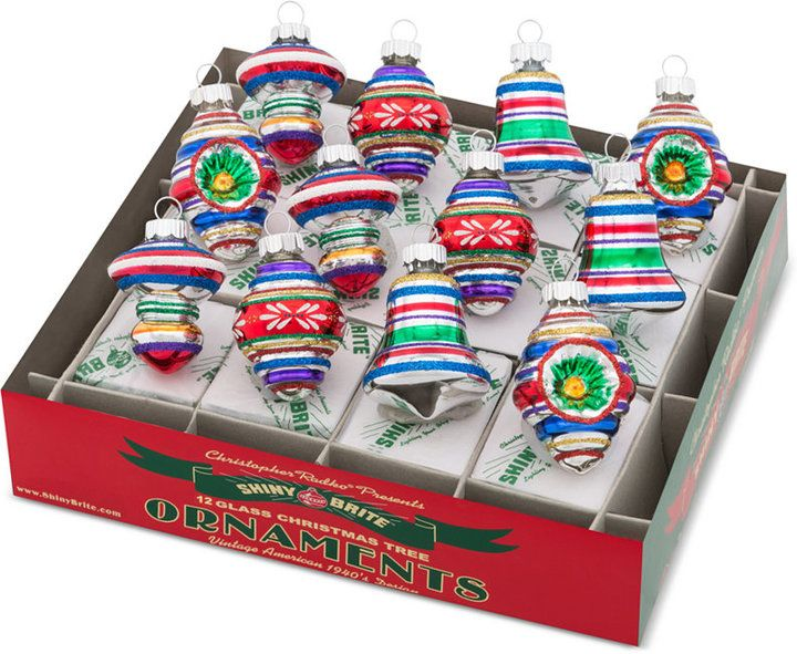 Christopher Radko Shiny Brite Traditional Brights Decorated Mixed Shapes & Reflectors Boxed Ornaments, 12-Pc. Set