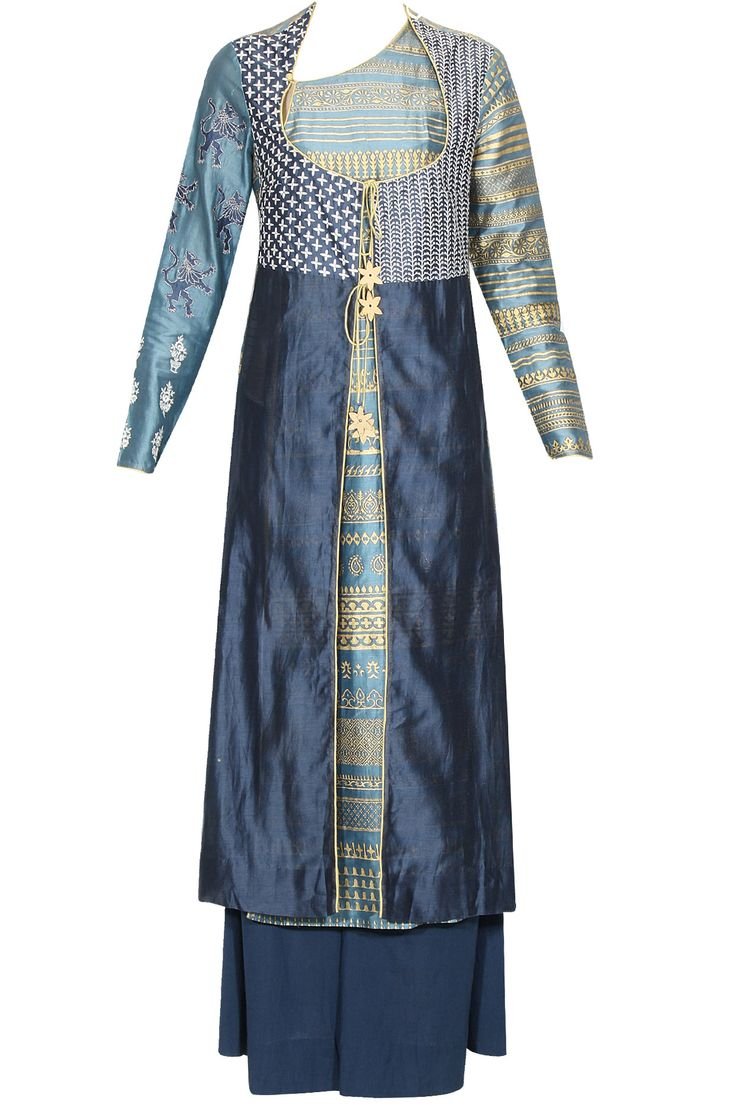 Blue and gold angarkha style kurta and palazzo pants set available only at Pernia's Pop Up Shop.