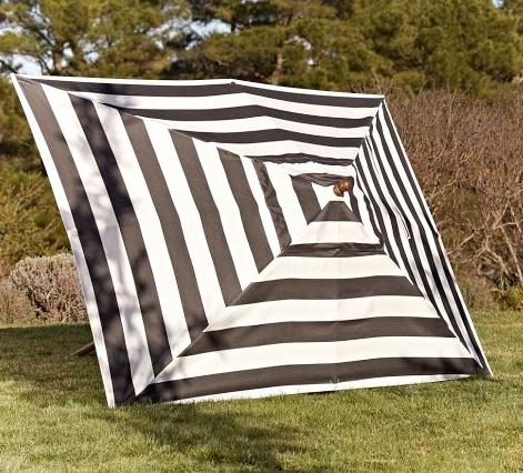 Sunbrella® Rectangular Umbrella   Black U0026 White Stripe   Backyard Black And  White