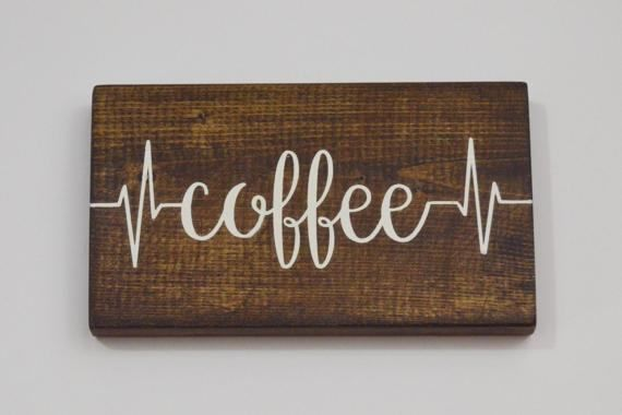 Coffee Signs Kitchen Decor Coffee Sign  Coffee Bar Sign  Hand Painted Wood Sign  Kitchen