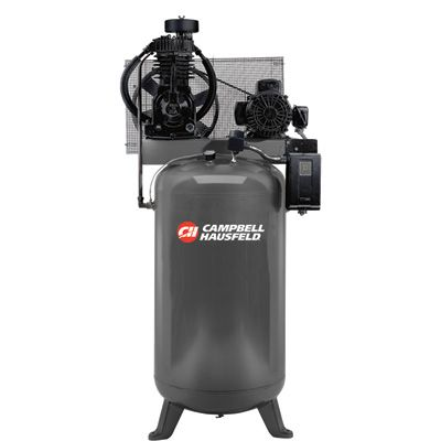 We use a Campbell Hausfeld Two-Stage Air Compressor — 5 HP, 16.6 CFM @ 175 PSI, 230 Volt Single Phase, Model# CE7050