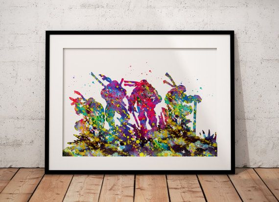 Teenage Mutant Ninja Turtles inspired, Fantasy, Room Decor, Tale, Colorful Watercolor, Poster, gift, Print, Wall Art (538)