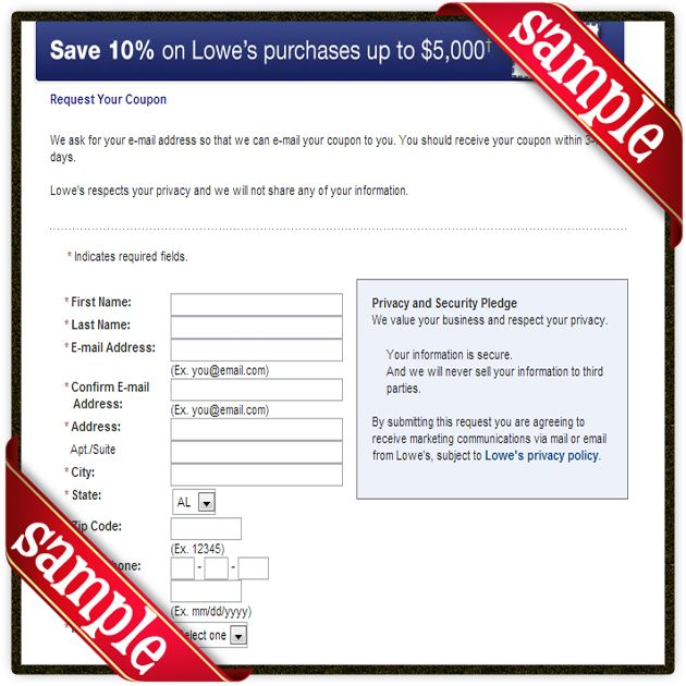 Printable 10 percent off coupon lowes