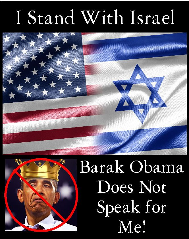 "I stand with Israel, and the worst idiot president in American history can go jump in the lake, go back to Kenya in a leaky boat & take all your ""baggage"" with you!"