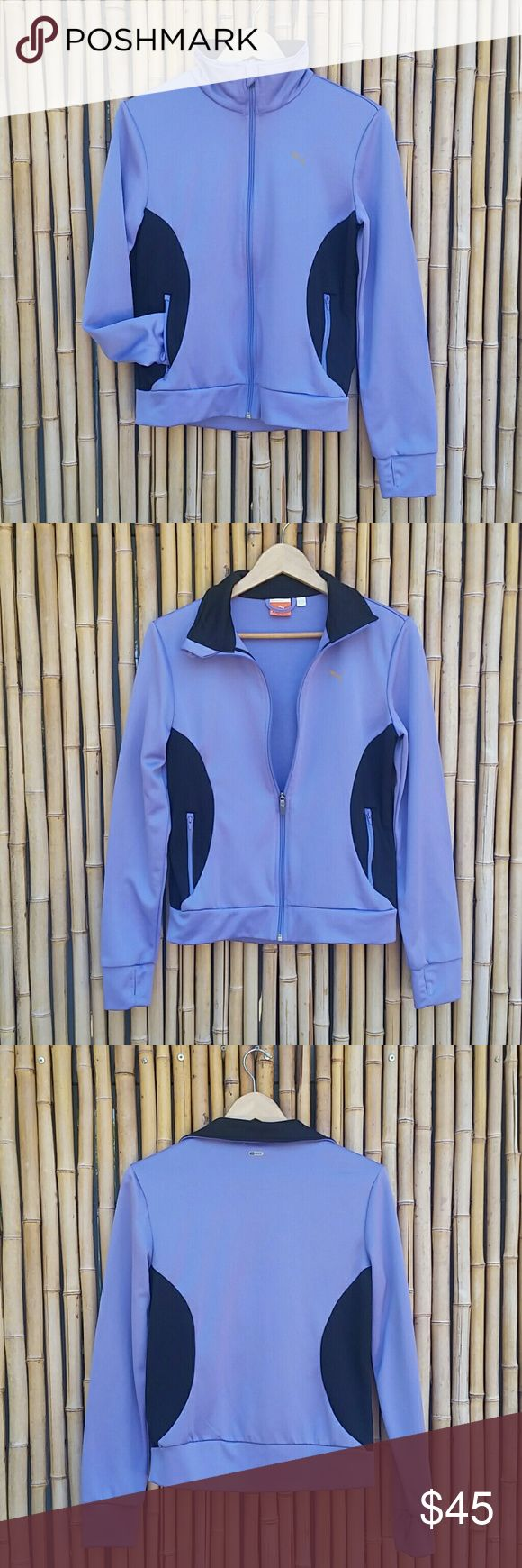 """PUMA Sport Jacket size Medium PUMA Sport Jacket  Periwinkle & Black  Full zipper to Turtleneck  2 side seam pockets  2 inside open pockets Cuffs have hole for thumbs  Label size Medium Chest 19"""" Length 24"""" Sleeves 25"""" Hemline 17""""  💲Bundle & Save!💲😀 🚫No Trades/No Holds 🙄😘  🔘Use OFFER button to negotiate👍🤑 ❔Please Ask ?'s BEFORE you Buy🤔😃 💕Thank you for shopping my closet!💕 Puma Jackets & Coats"""