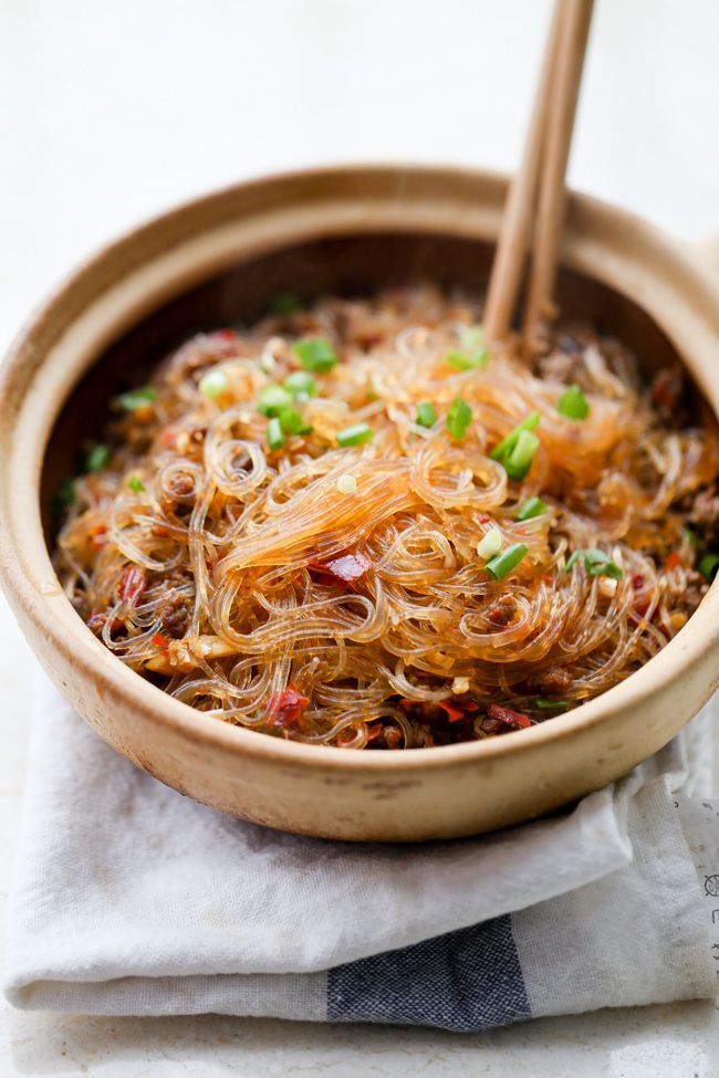 Stir fried glass noodles with minced beef, also known as ants climbing a tree.