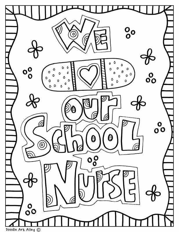 Nursing Coloring Books New School Nurse Day Classroom Doodles In