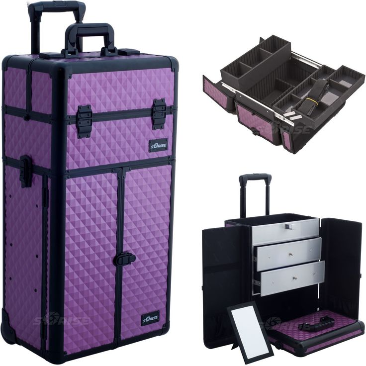Purple Dmnd Trolley Makeup Case - I3266 - salonhive.com