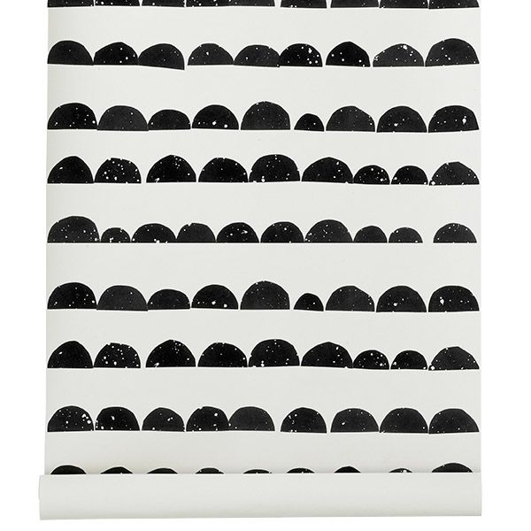 Half Moon wallpaper, black, by Ferm Living.